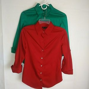 Lot of 2 Classic Blouse Red Green Christmas XS